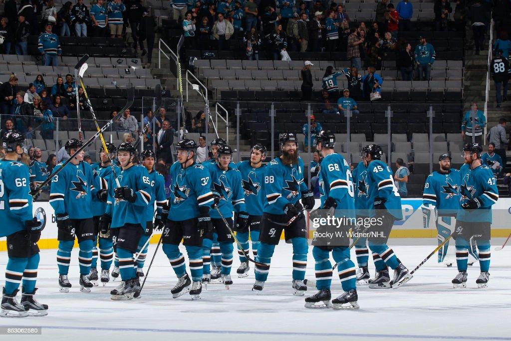 The San Jose Sharks celebrate after defeating the Vegas Golden Knights at SAP Center on September 21, 2017 in San Jose, California.