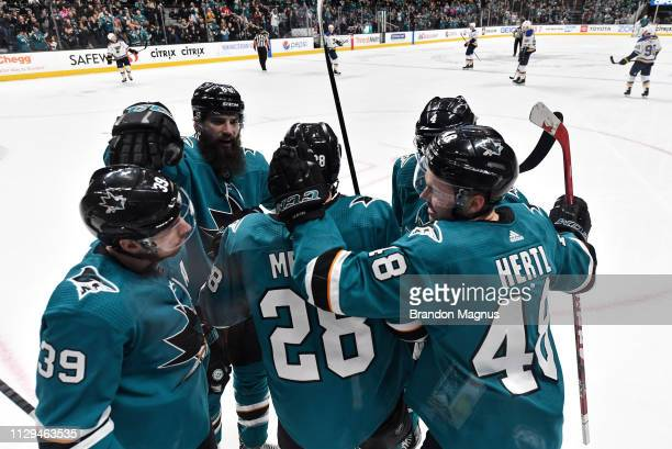 The San Jose Sharks celebrate after Timo Meier of the San Jose Sharks scores against the St Louis Blues at SAP Center on March 9 2019 in San Jose...