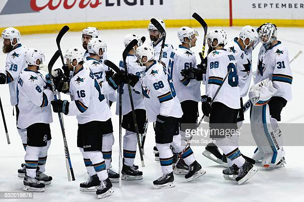 The San Jose Sharks celebrate defeating the St Louis Blues 40 in Game Two of the Western Conference Final during the 2016 NHL Stanley Cup Playoffs at...