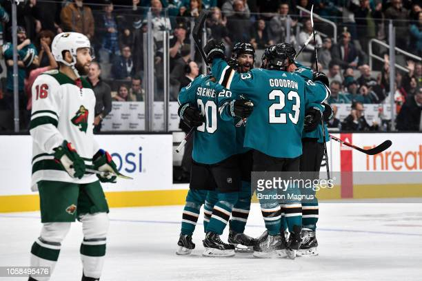 The San Jose Sharks celebrate scoring a goal against the Minnesota Wild at SAP Center on November 6 2018 in San Jose California