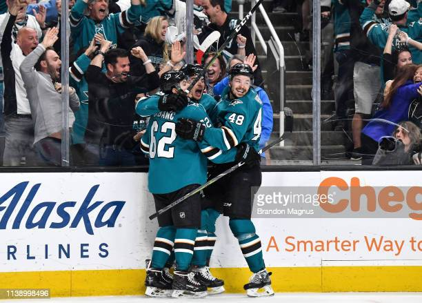 The San Jose Sharks celebrate scoring a goal against the Vegas Golden Knights in Game Seven of the Western Conference First Round during the 2019 NHL...