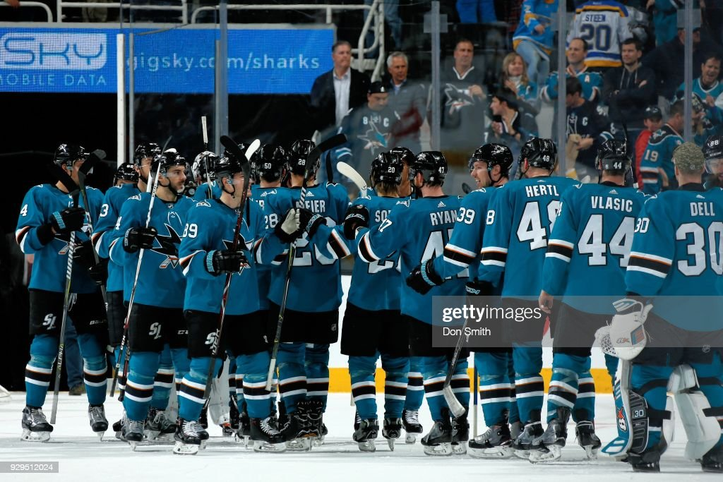 The San Jose Sharks celebrate their 2-0 win against the St. Louis Blues at SAP Center on March 8, 2018 in San Jose, California.