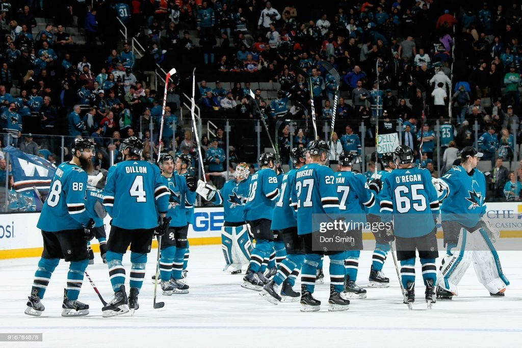 The San Jose Sharks celebrate their 6-4 win over the Edmonton Oilers at SAP Center on February 10, 2018 in San Jose, California.