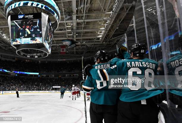 The San Jose Sharks celebrate their against the New York Rangers at SAP Center on October 30 2018 in San Jose California