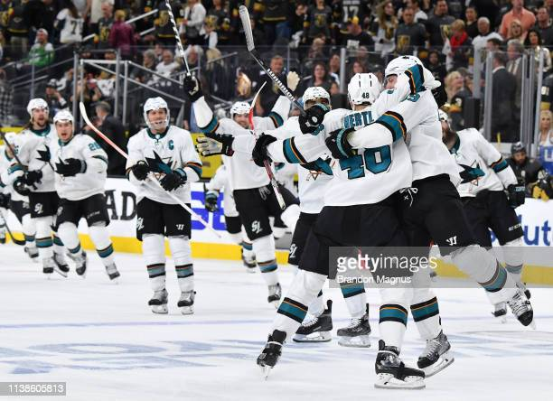 The San Jose Sharks celebrate their double overtime victory over the Vegas Golden Knights in Game Six of the Western Conference First Round during...