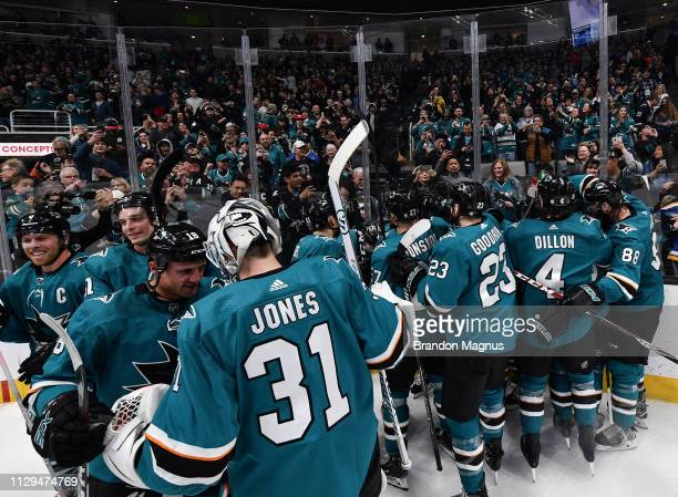 The San Jose Sharks celebrate their overtime win against the St Louis Blues at SAP Center on March 9 2019 in San Jose California