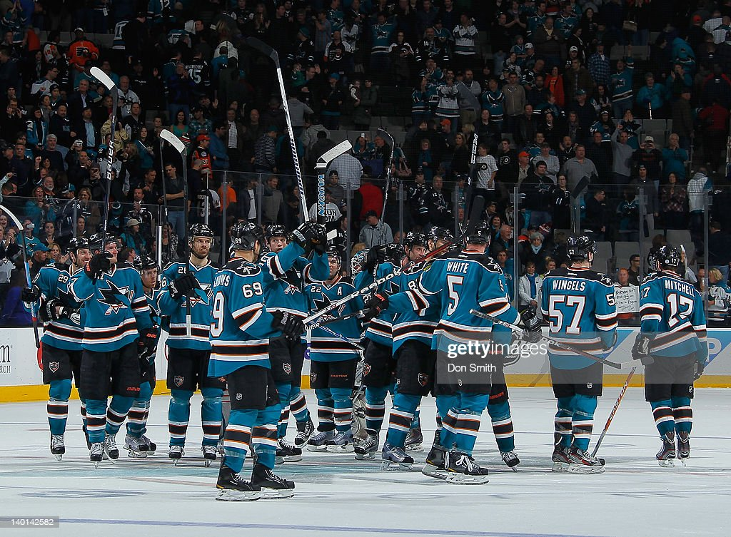 The San Jose Sharks celebrate their victory against the Philadelphia Flyers at HP Pavilion on February 28, 2012 in San Jose, California.