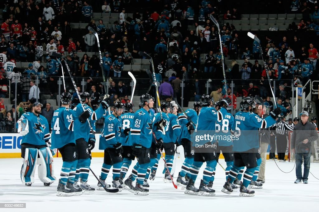 The San Jose Sharks celebrate their win against the Chicago Blackhawks at SAP Center at San Jose on January 31, 2017 in San Jose, California. The Sharks defeated the Blackhawks 3-1.