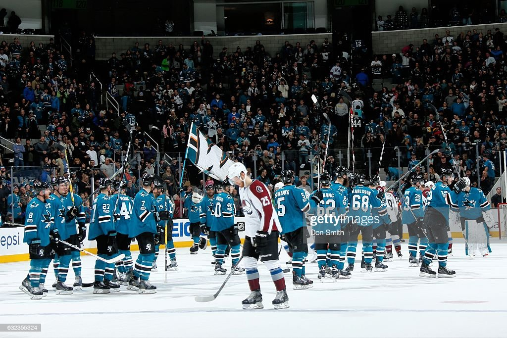 The San Jose Sharks celebrate their win against the Colorado Avalanche at SAP Center at San Jose on January 21, 2017 in San Jose, California. The Sharks defeated the Avalanche 3-2 in overtime.