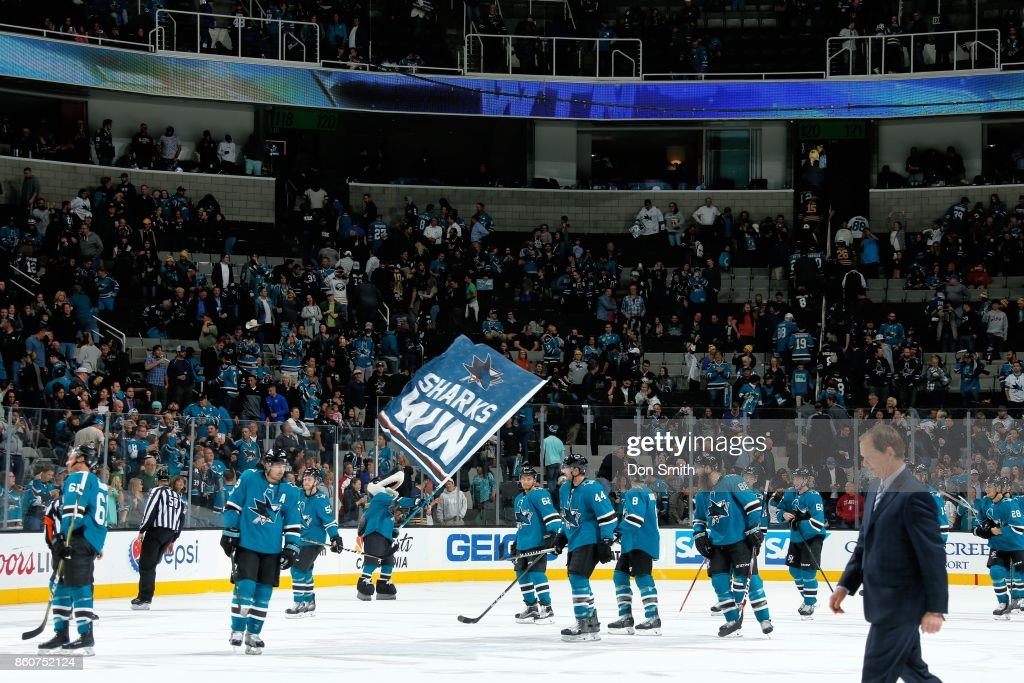 The San Jose Sharks celebrate their win over the Buffalo Sabres at SAP Center at San Jose on October 12, 2017 in San Jose, California. The Sharks defeated the Sabres 3-2.
