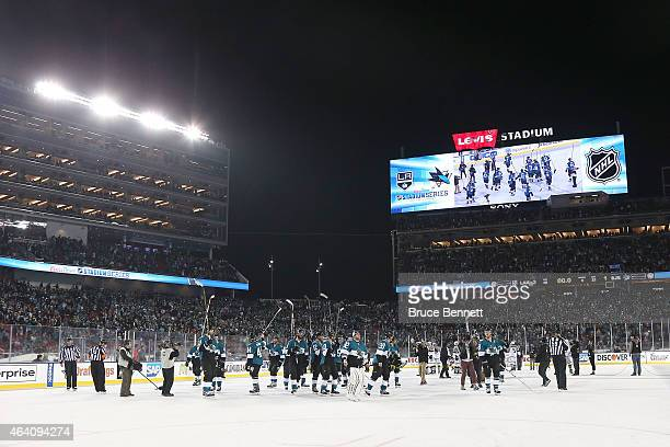 The San Jose Sharks greet their fans after a loss to the Los Angeles Kings at Levi's Stadium on February 21 2015 in Santa Clara California