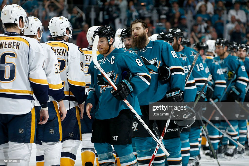 The San Jose Sharks led by captain Joe Pavelski #8 shakes hands after the series win against the Nashville Predators in game seven of the Western Conference Second Round during the 2016 NHL Stanley Cup Playoffs at the SAP Center at San Jose on May 12, 2016 in San Jose, California.