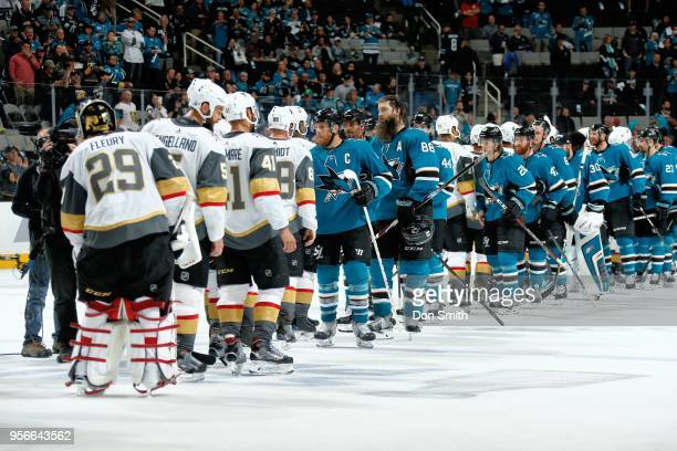 The San Jose Sharks line up to shake hands after the Vegas Golden Knights defeat the Sharks 30 to finish the Second Round and advance to the Western...