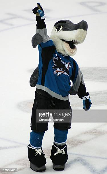 The San Jose Sharks mascot SJ Sharkie celebrates after the defeating the Edmonton Oilers in game one of the Western Conference Semifinals on May 7...