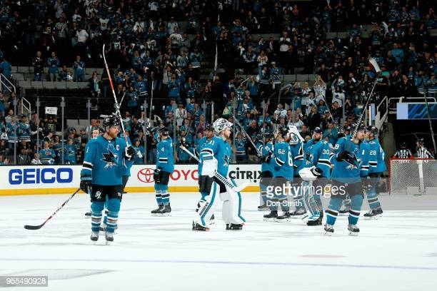 The San Jose Sharks salute the crowd after losing to the Vegas Golden Knights 30 ending the Sharks season in Game Six of the Western Conference...