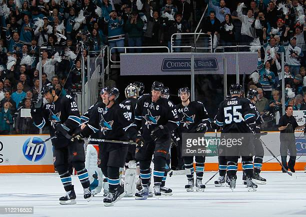 The San Jose Sharks salute the crowd after their overtime victory against the Los Angeles Kings in Game 1 of the Western Conference Quarterfinals...