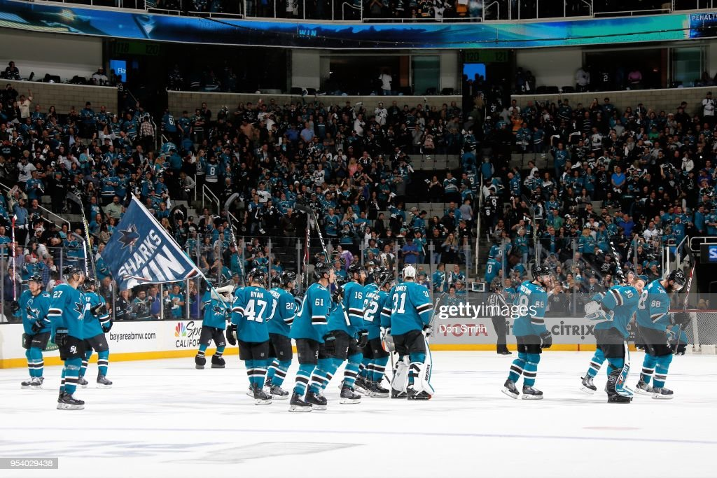 The San Jose Sharks salute the crowd as they celebrate their 4-0 win over the Vegas Golden Knights in Game Four of the Western Conference Second Round during the 2018 NHL Stanley Cup Playoffs at SAP Center on May 2, 2018 in San Jose, California.