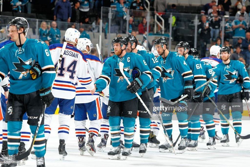 The San Jose Sharks shake hands with the Edmonton Oilers after the Oilers win the game and the First Round in Game Six of the Western Conference First Round during the 2017 NHL Stanley Cup Playoffs at SAP Center at San Jose on April 22, 2017 in San Jose, California. The Oilers defeated the Sharks 3-1.