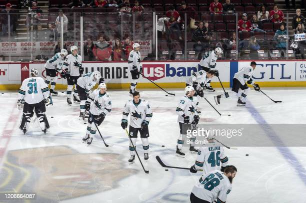 The San Jose Sharks warm up prior to the game against the Chicago Blackhawks at the United Center on March 11, 2020 in Chicago, Illinois.