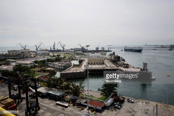 The San Juan de Ulua fort stands in front of the Port of Veracruz in Veracruz Mexico on Thursday Sept 26 2013 Mexico reported a preliminary trade...