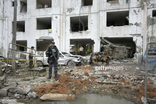 TOPSHOT The San Lorenzo police station was severely damaged by a car bomb explosion that injured a dozen police officers in Esmeraldas Ecuador on...