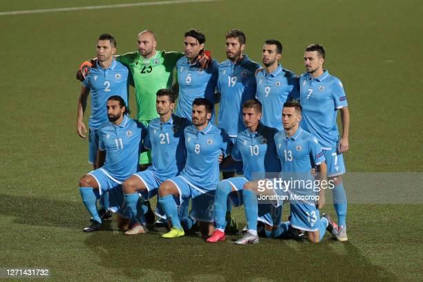 The San Marino starting eleven line up for a team photo before kick off, back row ; Dante Carlos Rossi, Elia Benedettini, Davide Simoncini, Luca...