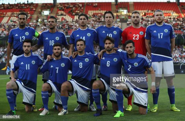 The San Marino team pose for a team photo prior to the FIFA 2018 World Cup Qualifier between Germany and San Marino at Stadion Nurnberg on June 10...