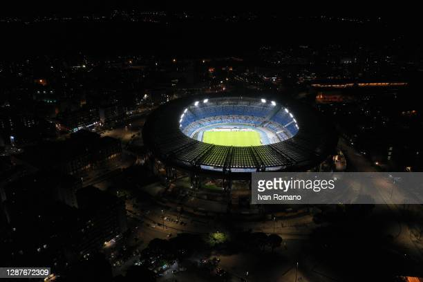 The San Paolo stadium is lit as a tribute to the late soccer player Diego Armando Maradona on November 25, 2020 in Naples, Italy. Diego Armando...