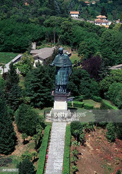 The Sancarlone colossal statue of St Charles Borromeo by Giovanni Battista Crespi known as Cerano aerial view Arona Lake Maggiore Piedmont Italy
