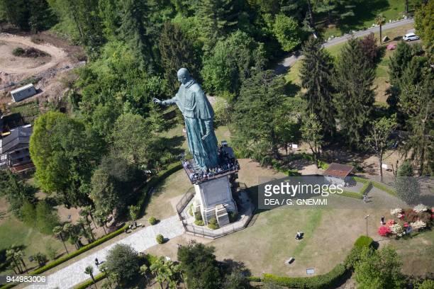 The Sancarlone colossal statue of St Charles Borromeo by Giovanni Battista Crespi known as Cerano aerial view Arona Lake Maggiore Piedmont Italy 17th...