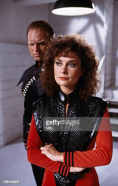V The Sanction Episode 5 Aired 11/16/84 Pictured Thomas Callaway as Klaus Jane Badler as Diana