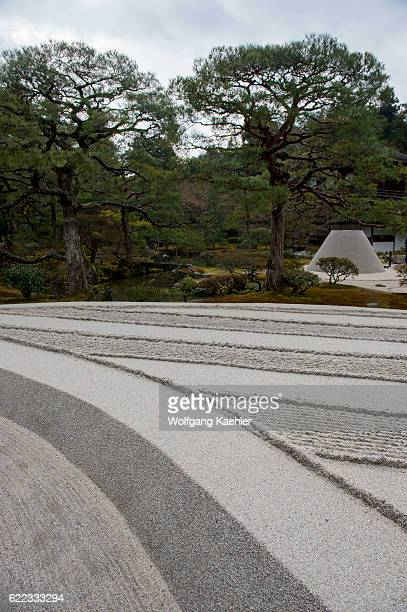 The sand garden in the garden of the Ginkakuji or Temple of the Silver Pavilion is a Zen temple in the Sakyo ward of Kyoto Japan