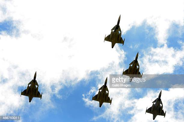 The SANDF do a fly over on December 15 2013 in Qunu South Africa Nelson Mandela passed away on the evening of December 5 2013 at his home He is laid...