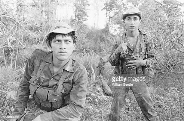 The Sandinista Popular Army troops patrol for Contras in the mountains of Northern Nicaragua The war between the Sandinistas and Contras during the...