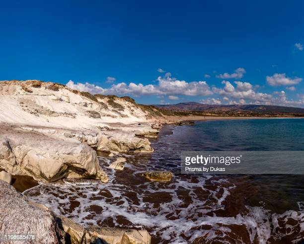 The sandstone erosion of the Lara Beach coast, Akamas Peninsula National Park, Cyprus, Cyprus, 30070174.