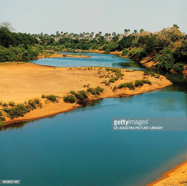 The sandy shores of the Gambia river Senegal