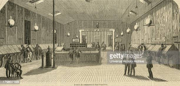 The Sanfrancisco stock exchange during the Californian Gold Rush Engraving 1853