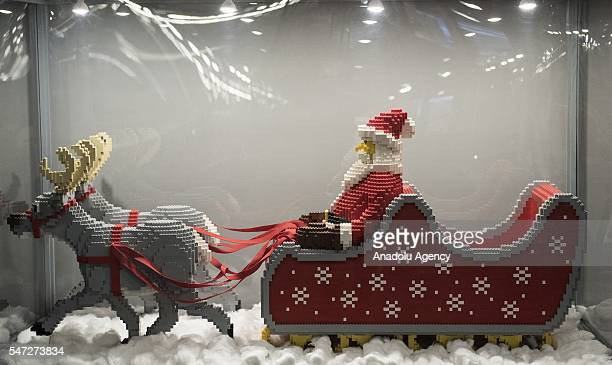 The Santa Claus and reindeer made of Lego bricks are displayed during the World's biggest LEGO brick show at Galeria Kazimierz Krakow Poland on JULY...