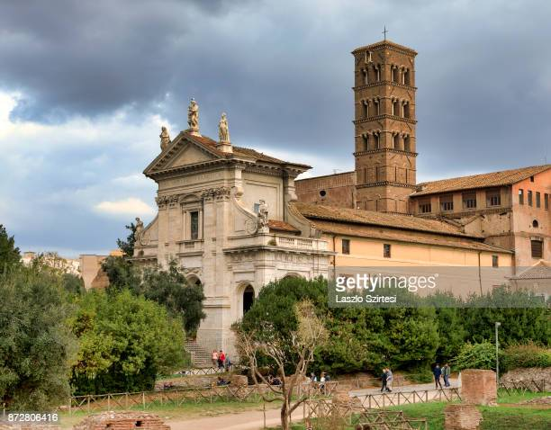 The Santa Francesca Romana Basilica is seen at the Roman Forum on October 30 2017 in Rome Italy Rome is one of the most popular tourist destinations...