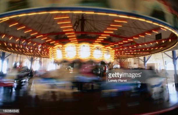 The Santa Monica Pier Carousel. Designed and built in 1916 by Charles Looff is listed as a National Historic Landmark.