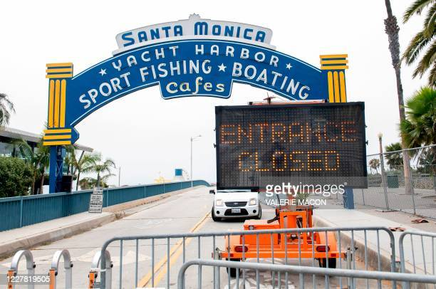 The Santa Monica Pier entrance is closed in Santa Monica, California, on July 28 amid the coronavirus pandemic.