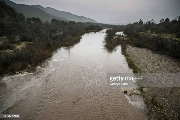 The Santa Ynez River is filled once again with rushing water as yet another in a series of storms passes over the Central Coast of California on...