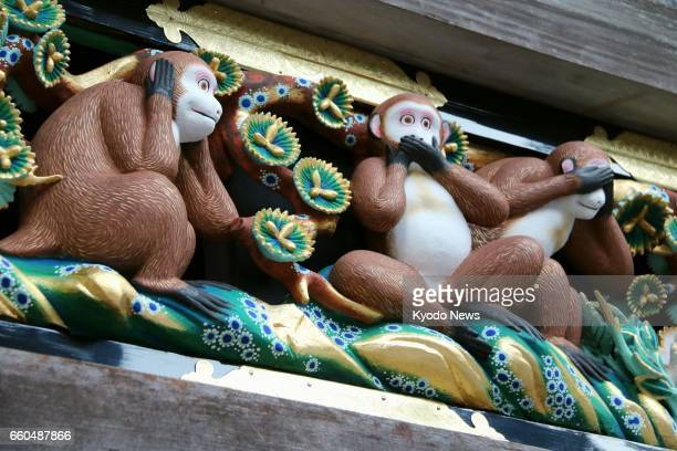 The 'Sanzau' wooden carving at the Nikko Toshogu shrine a UNESCO World Heritage site in Nikko Tochigi Prefecture is unveiled on March 30 at the...