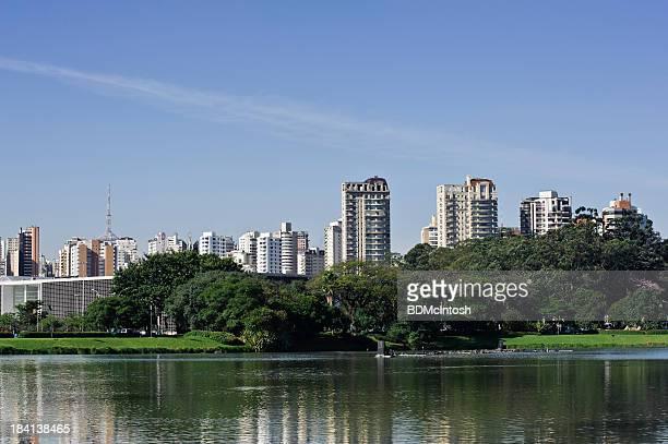 The Sao Paulo, Brazil skyline reflecting in the water