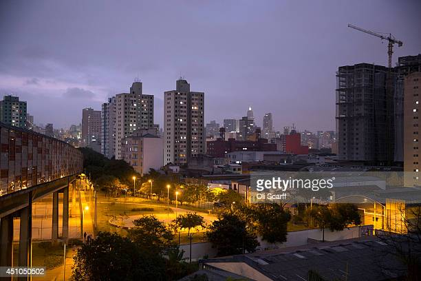 The Sao Paulo skyline is seen at dusk from the 'Bras' Metro station on June 21 2014 in Sao Paulo Brazil
