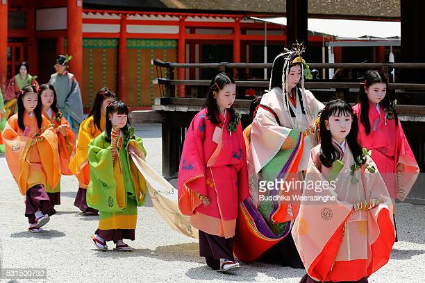 The 'SAoidai' queen principle figure of festival wearing a 12layered ceremonial kimono of Heian Period court ladies called Junihitoe arrives attend...