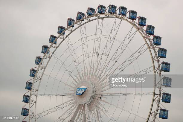 The SAP AG logo sits on a 60 meter tall Ferris wheel at the CeBIT 2018 tech fair in Hanover Germany on Monday June 11 2018 CeBIT Europe's business...