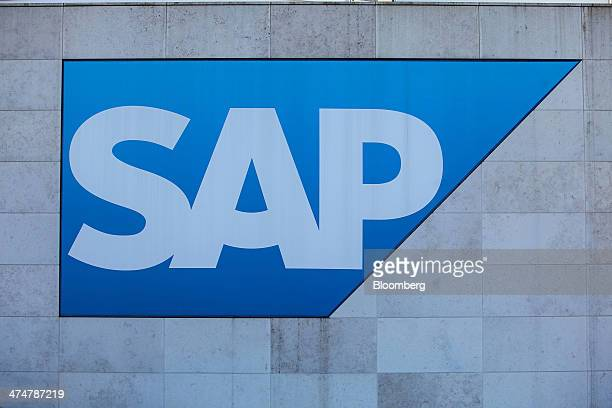 The SAP AG logo sits on display outside the businesssoftware maker's headquarters in Walldorf Germany on Monday Feb 24 2014 SAP AG coChief Executive...