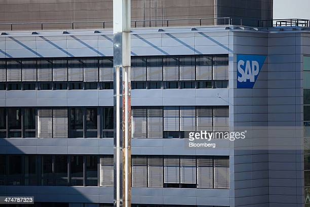 The SAP AG logo sits on the exterior of the businesssoftware maker's headquarters in Walldorf Germany on Monday Feb 24 2014 SAP AG coChief Executive...