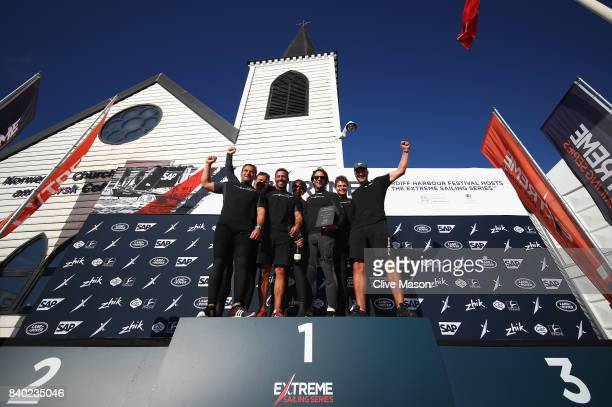 The SAP Extreme Sailing Team of Denmark celebrate on the podium with a backdrop of the Norwegian Church after winning Act 6 of the 2017 Extreme...